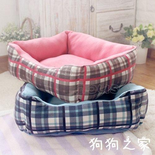 ☆狗狗之家☆petstyle 格紋 搖粒絨 保暖棉 方形 寵物窩 床
