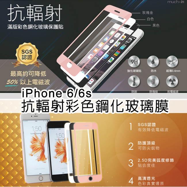 【i6/i6plus】蘋果Apple iPhone 6/ i6plus抗輻射彩色鋼化玻璃膜