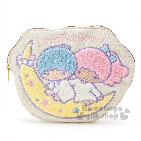 〔小禮堂〕雙子星 刺繡造型筆袋《白.月亮.坐姿.星星》帆布布材質