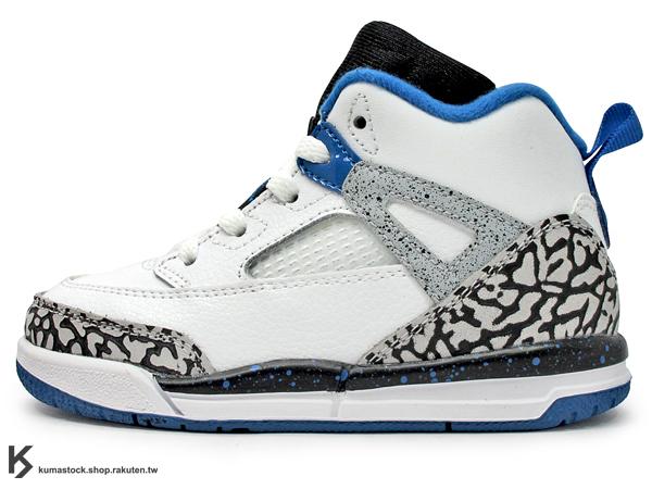 海外入荷 台灣未發售 2013 NIKE JORDAN SPIZIKE BT TD 幼童鞋 BABY 鞋 白黑藍 白藍 合體鞋 AJ AIR 3 4 5 6 20 (317701-107) !