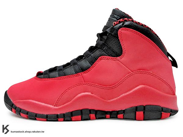 2013 OG 原版配色 少量入荷 經典復刻 GIRLS NIKE AIR JORDAN 10 RETRO GS 大童鞋 女鞋 紅黑 紅黑黃 中國 芝加哥 AJ X CHICAGO BULLS (487211-605) !