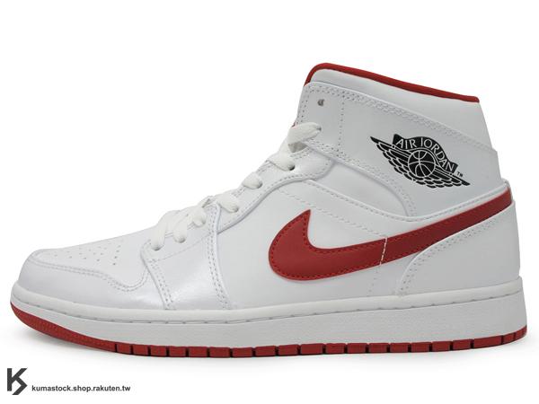 2014 經典重現 復刻鞋款 搭配定番配色 NIKE AIR JORDAN 1 MID WHITE 男鞋 白紅 紅勾 黑色翅膀 LOGO 公牛隊配色 皮革 AJ (554724-101) !