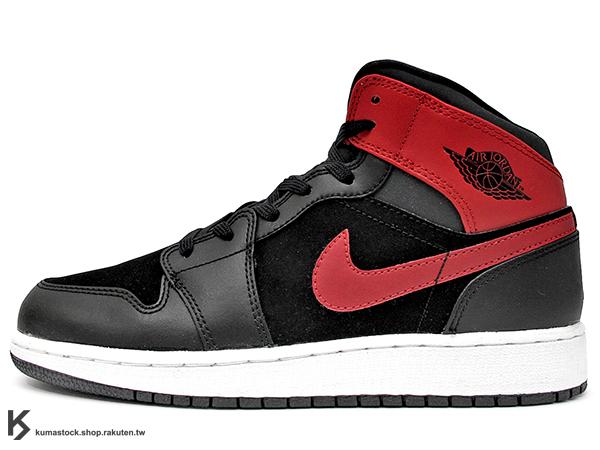 2014 經典重現 復刻鞋款 人氣配色 NIKE AIR JORDAN 1 MID BG GS BRED 大童鞋 女鞋 黑紅 牛巴戈 皮革 AJ (554725-024) !