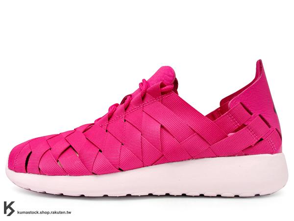 人氣超熱賣 2013 NSW 平價走路休閒鞋 輕量舒適 NIKE WMNS ROSHERUN WOVEN 女鞋 桃紅 粉紅 編織 透氣不織布 軟皮 PHYLON 中底 SOLARSOFT 襪套 (555257-601) !