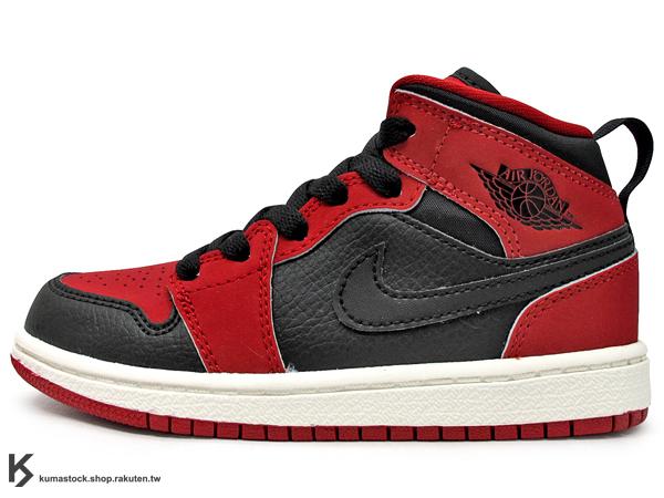 海外入荷 台灣未發售 2014 NIKE JORDAN 1 RETRO MID BP PS UNBRED 小童鞋 童鞋 紅黑 黑紅 AJ 一代 AIR (640734-005) !