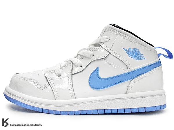 海外入荷 台灣未發售 2014 NIKE JORDAN 1 RETRO MID TD BT WHITE LEGEND BLUE 幼童鞋 BABY 鞋 白藍 漆皮 北卡藍 AJ 一代 AIR (640735-127) !