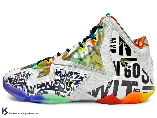 2014 NBA 球季 LeBRON JAMES 最新代言 限量發售 NIKE LEBRON XI 11 PREMIUM WHAT THE 大合體 左右腳不同色 28種歷年設計概念 HYPERPOSITE + DYNAMIC FLYWIRE 動態支撐鞋面科技 LUNARLON + ZOOM AIR 避震鞋墊 MIAMI HEAT 小皇帝 MVP KING 眾神合體 籃球鞋 (650884-400) !
