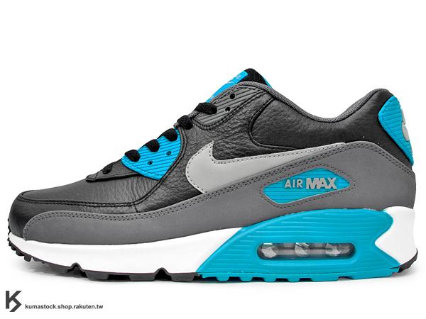 NSW 經典復刻鞋款 人氣商品 2015 NIKE AIR MAX 90 LEATHER LTR 黑灰藍 土耳其藍 皮革 慢跑鞋 (652980-004) !