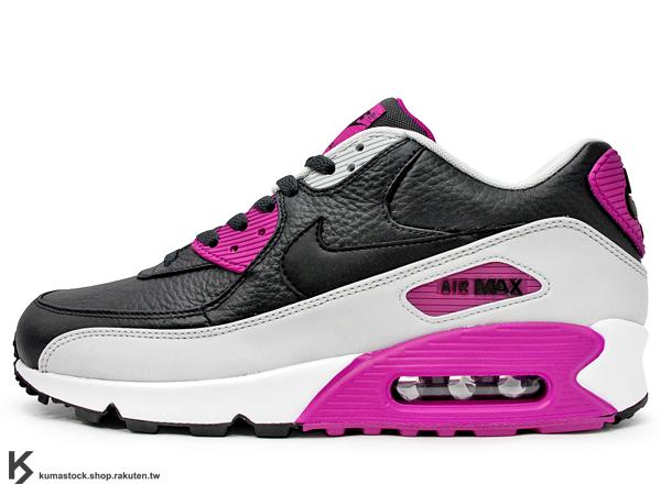 [28cm] NSW 經典復刻鞋款 人氣商品 2015 NIKE AIR MAX 90 LEATHER LTR 黑灰白紫 皮革 慢跑鞋 (652980-005) !