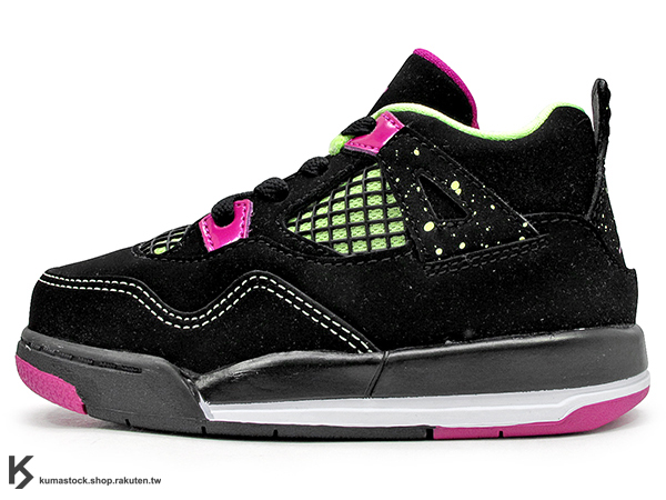 [14cm] 海外入荷 台灣未發售 2015 NIKE JORDAN 4 IV RETRO GT BT TD 30TH 幼童鞋 BABY 鞋 黑紫紅 螢光綠 潑漆 AJ 四代 牛巴戈 AIR (705345-027) !
