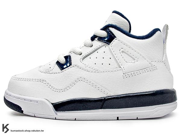 海外入荷 台灣未發售 2015 NIKE JORDAN 4 IV RETRO LS BT TD COLUMBIA 幼童鞋 BABY 鞋 白深藍 皮革 AJ 四代 AIR (707432-107) !
