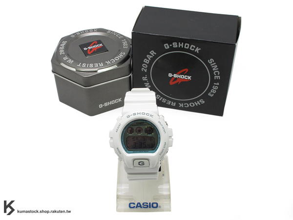 kumastock 最新入荷 2013 春夏 繽紛 街頭流行風格 CASIO G-SHOCK NEW CRAZY COLOR 系列 DW-6900PL-7DR 全白 白灰 銀藍色金屬錶面 亮面錶帶 !