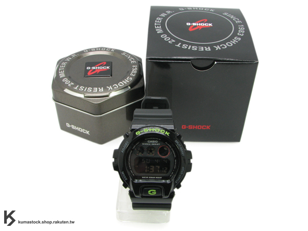 "kumastock 最速入荷 2011年 夏日 街頭帆布鞋風格 CASIO G-SHOCK NEW CRAZY COLOR 系列 DW-6900SN-1DR ""sneaker style"" 亮黑 綠字 亮面+霧面 !"