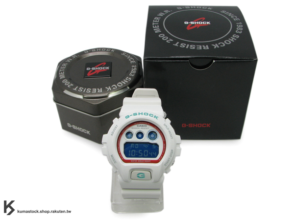 "kumastock 最速入荷 2011年 夏日 街頭帆布鞋風格 CASIO G-SHOCK NEW CRAZY COLOR 系列 DW-6900SN-7DR ""sneaker style"" 亮白色 綠字 亮面+霧面 !"