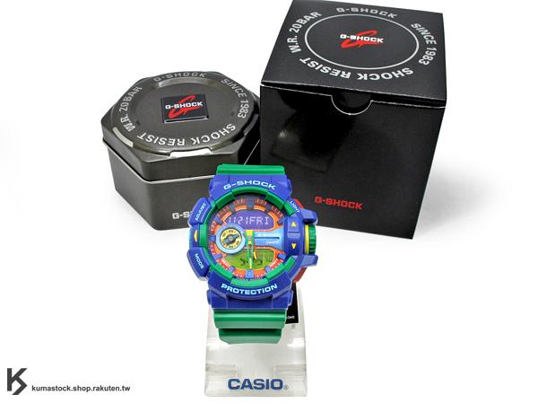 kumastock 2014 最新入荷 超大錶徑 CASIO G-SHOCK GA-400-2ADR 藍綠 藍綠黃紅 樂高 積木 !