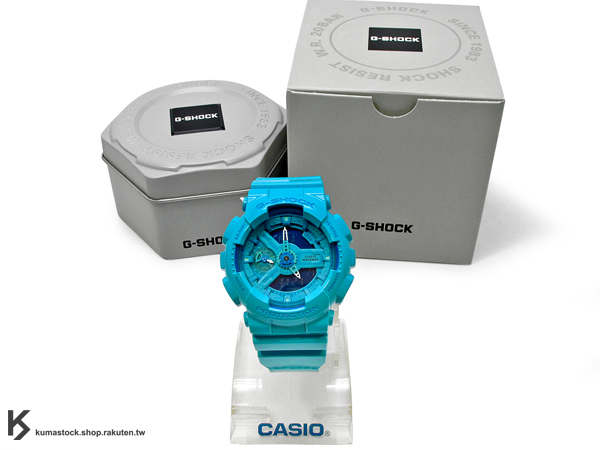 kumastock 2014 最新入荷 46mm 錶徑 貼合女性手腕曲線 CASIO G-SHOCK GMA-S110CC-2ADR 水藍 亮面 HYPER COLOR S SERIES FOR LADIES 女孩專用 !