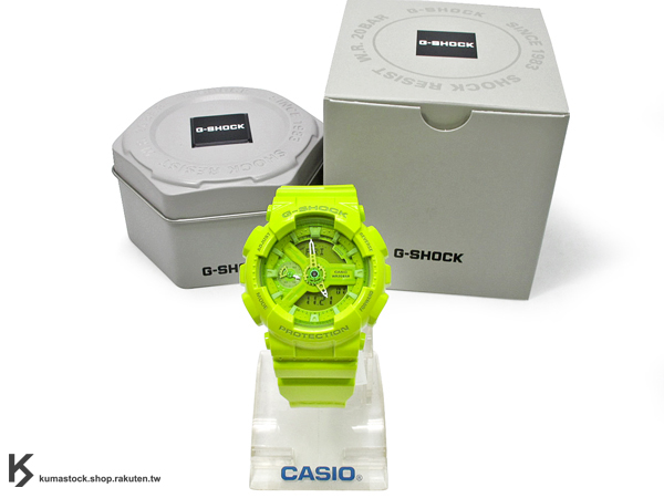 kumastock 2014 最新入荷 46mm 錶徑 貼合女性手腕曲線 CASIO G-SHOCK GMA-S110CC-3ADR 草綠 青蘋果綠 亮面 HYPER COLOR S SERIES FOR LADIES 女孩專用 !
