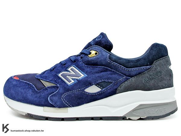 2013 日本知名鞋舖 OSHMAN'S 聯名款 NEW BALANCE CM1600BO 深藍色 深藍紅 麂皮 網布 1600 M1600 ABZORB 避震科技 (CM1600BO)