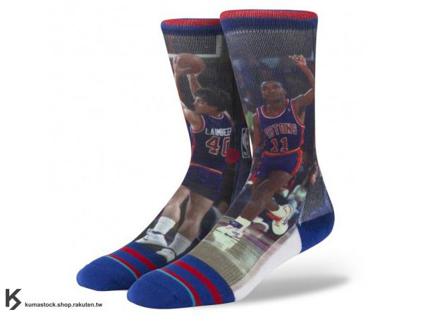 2013 美國加州 襪子 品牌 STANCE SOCKS x NBA 官方授權 NBA LEGENDS 傳奇球星系列 THOMAS / LAIMBEER 底特律 壞孩子 正反面滿版印刷 中長筒襪 (M320D13THO) !