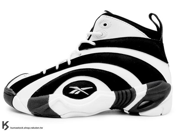 2013 台灣未發售 經典重新再現 1996 Shaquille O'Neal 簽名球鞋 REEBOK SHAQ SHAQNOSIS OG GS JUNIOR 大童鞋 女鞋 二代 白黑 黑白 蜂巢式氣墊 魔術隊 32 Candee W 郭百白 著用 (V53185) !