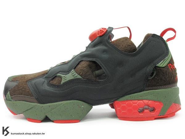 2014 原版設計再現 20周年紀念 限量發售 美國 紐奧良 球鞋潮舖 Sneaker Politics x Reebok INSTA PUMP FURY OG 黑綠紅 棕色毛 1994 原版配色 重新復刻 原版中底設計 (V61542) !