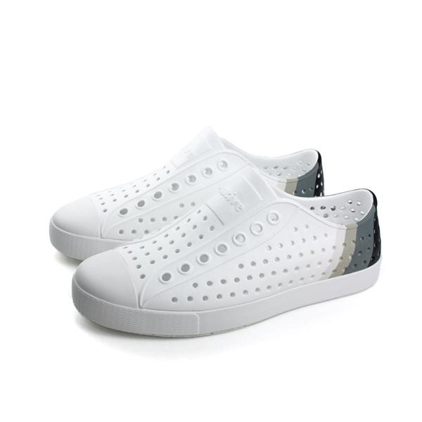 native JEFFERSON 洞洞鞋 白灰色 男女鞋 no530