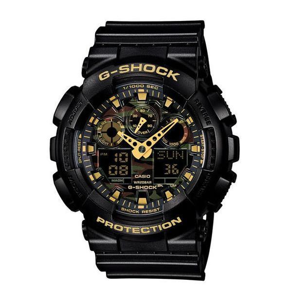 CASIO G-SHOCK GA-100CF-1A9迷彩金雙顯流行腕錶/51mm