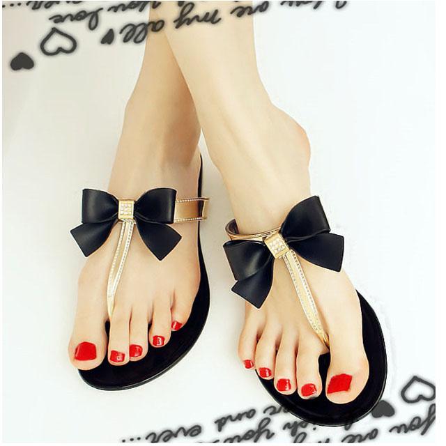 鑽石拖鞋 [與你時尚] 韓國新款蝴蝶结鑽石人字 海灘拖鞋 果凍拖鞋