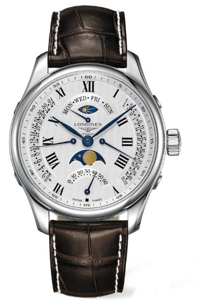 LONGINES L27394713巨擘月象四回撥多功能腕錶/白網紋面44mm