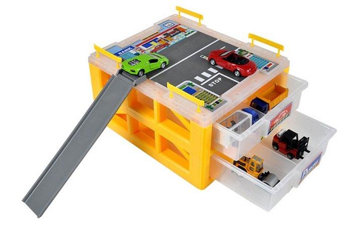 工具盒收納箱迷你立體停車場 小車收納箱