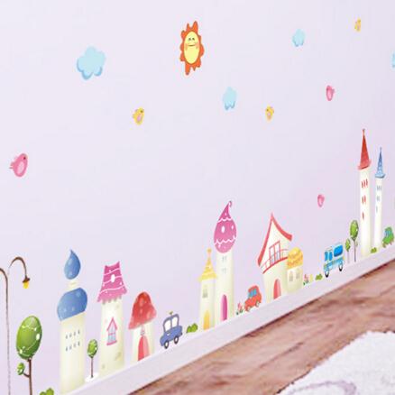 可愛卡通塗鴉城堡兒童房牆貼男女孩臥室裝飾幼兒園教室可愛牆壁貼紙【no-19682669440】