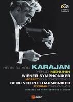 """【小閔的古典音樂世界】C major 曼紐因(Yehudi Menuhin) & 卡拉揚(Herbert von Karajan)/莫札特:小提琴協奏曲第5號、德弗札克:交響曲第9號[Mozart: Violin Concerto No. 5、Dvořák: Symphony No. 9 """"From the New World""""]【1DVD】"""