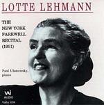 【小閔的古典音樂世界】VAI 珞特‧雷曼(Lotte Lehmann)/女高音珞特‧雷曼1951年紐約告別演唱會【1CD】