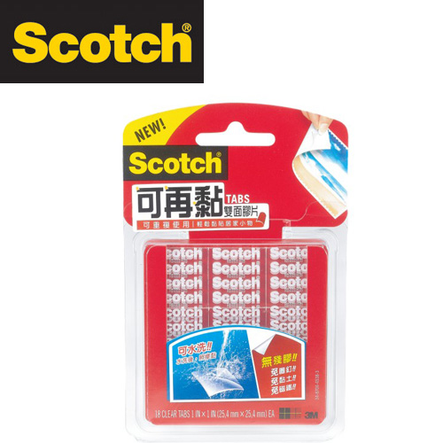 3M  R100  Scotch  可再黏雙面膠片 18片裝 /  包