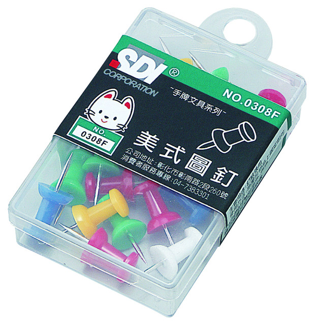 【SDI】手牌 # 0308F  美式圖釘(12粒裝)