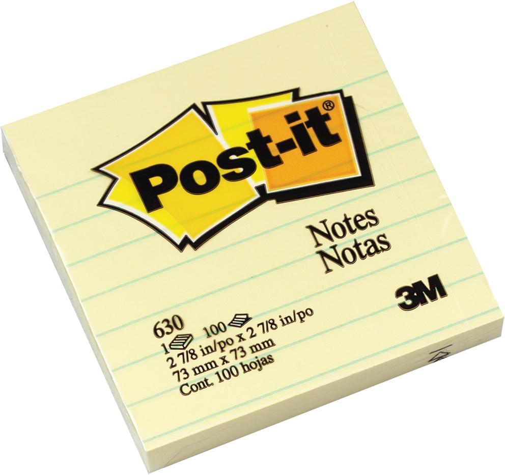 3M  630 利貼 可再貼便條紙系列 黃 (橫格) 100張/本