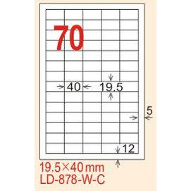 【龍德】LD-878(直角-白色) 雷射、噴墨、影印三用電腦標籤 19.5x40mm 20大張/包