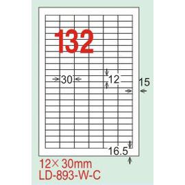 【龍德】LD-893(直角) 平光防水高解析噴墨標籤 12x30mm 20大張/包