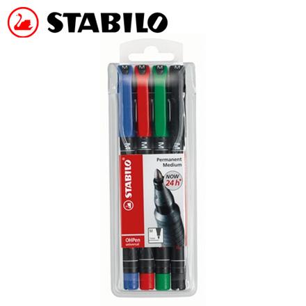 STABILO 德國天鵝 OHPen universal 永久性萬用油性筆1mm(M) 4色入 / 盒
