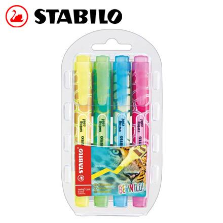 STABILO 德國天鵝 swing cool BE WILD! 狂野系列螢光筆組(275/4-05) 4色 / 盒