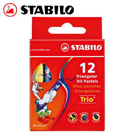 STABILO 德國天鵝 trio 系列3歲後兒童專用油性粉蠟筆組(2612) 12色 / 盒