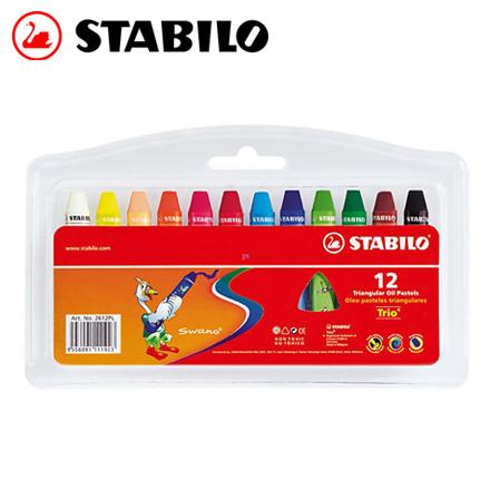 STABILO 德國天鵝 trio 系列3歲後兒童專用油性粉蠟筆組(2612PL) 12色 / 盒