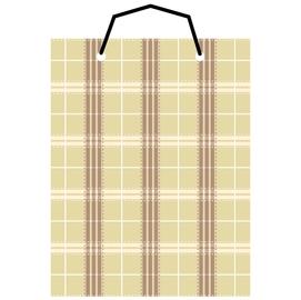 【美加美】文具紙品-布格紋直2號手提袋-米 AM5109/個