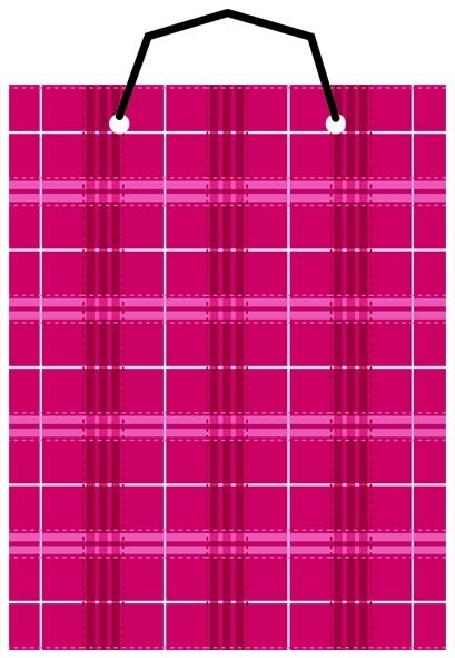 【美加美】文具紙品-布格紋直2號手提袋-紅 AM5109/個