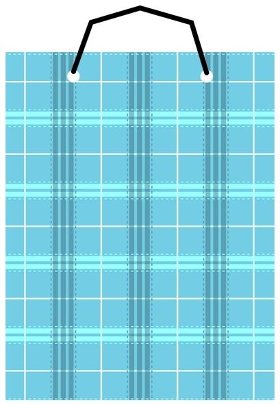 【美加美】文具紙品-布格紋直2號手提袋-藍 AM5109/個