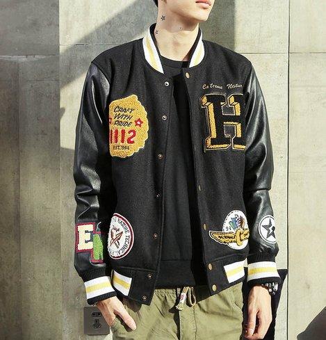 【JP.美日韓】韓國 高檔 皮革 棒球外套 貼布 外套 棒球 潮流外套 非OVK REMIX READY SQUAD