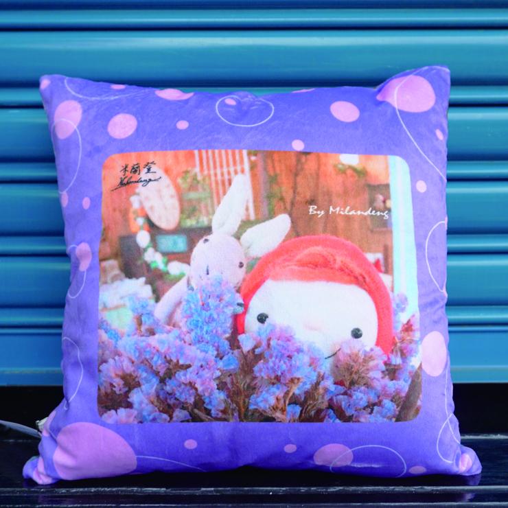 『禮咖好』小紅帽與兔子的花花世界 47*47公分絲絨布抱枕.可拆式