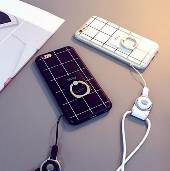 黑白格子iphone7手機殼7plus磨砂手機保護套蘋果6/6s戴指環支架軟殼三件套