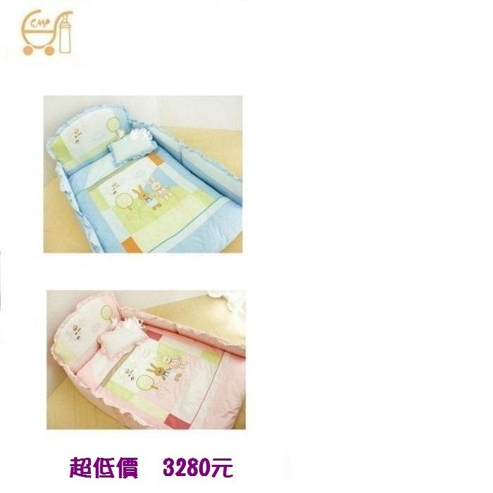 *美馨兒* 東京西川 GMP Baby-[童話兔]抗蹣菌七件組/嬰兒床組(二色可挑) 3280元