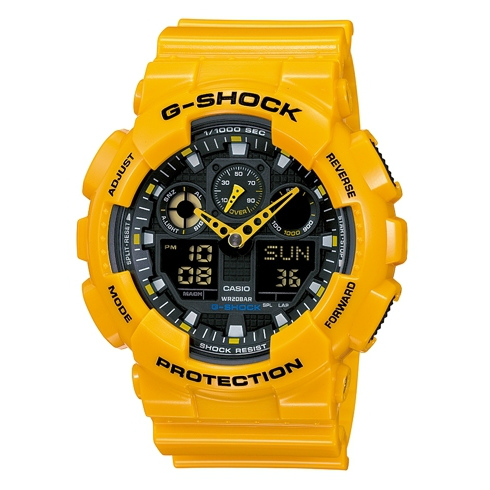 CASIO G-SHOCK GA-100A-9A耀眼黃雙顯流行腕錶/黑面51mm